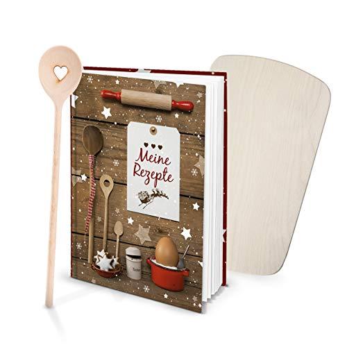 Logbuch-Verlag cadeauset, receptenboek om zelf te schrijven, mijn recepten + kooklepel hart + kleine keukenplank bakboek rood wit Kerstmis bakken kerstcadeau