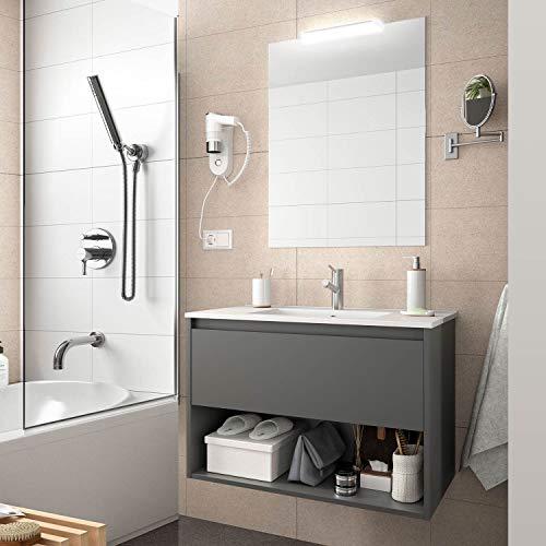 Yellowshop. - Mobile Bagno sospeso 100 Cm Legno cassetto vano lavabo specchiera LED MOD. Noja (Grigio Opaco)
