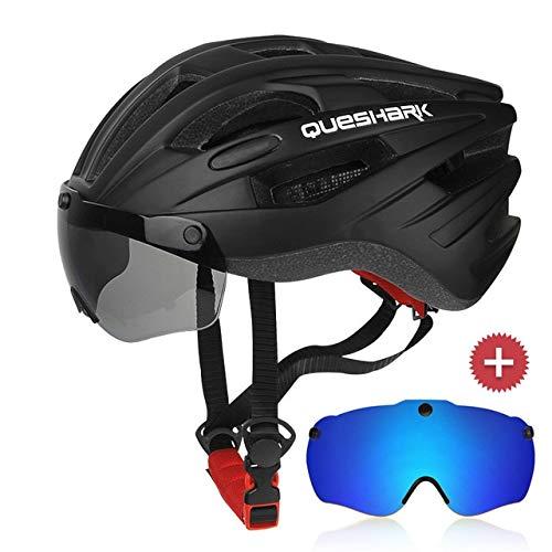 IAMZHL Winddichte Fahrradhelm-Reitkappen Atmungsaktive MTB-Fahrradhelme für Bergstraßen mit Abnehmbarer Brille-BL