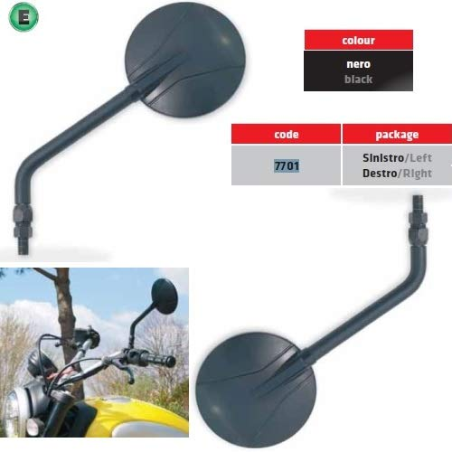COMPATIBLE WITH SYM QUAD LANDER 300 S PAIR OF HANDLEBAR MIRRORS FOR MOTORCYCLE FAR UNIVERSAL MIRRORS BLACK RIGHT/LEFT + MOUNTING KIT M.8 DX-SX 10X1.25 APPROVED
