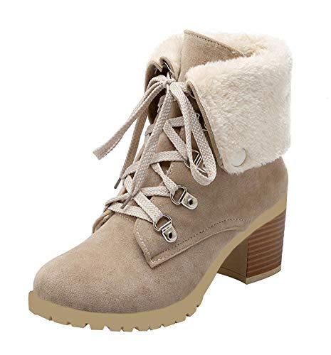 MISSUIT Damen Blockabsatz Stiefeletten mit Schnürung und Fell Warm Gefüttert 6CM Absatz Kurzschaft Stiefel (Beige,40)
