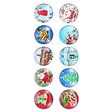 PIXNOR Imanes de Nevera de Navidad Patrón de Navidad Redondo Imanes de Nevera de Vidrio Decorativo 3D Pequeños Imanes para Mapa Nevera Armario Pizarra Decoración de La Oficina en Casa