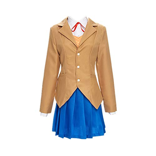 ULLAA 5PCS Doki Doki Literature Club Monika Costume de Cosplay Tenue Uniforme Scolaire Robe JK Costumes Halloween Carnaval vêtements de Haute qualité