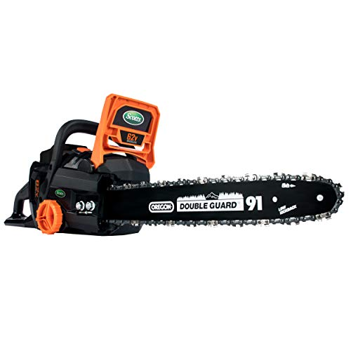 Scotts LCS31662S 16 in. 62-Volt Lithium Ion Cordless Chainsaw, 4Ah Battery and Charger Included