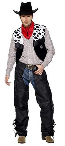 Smiffys Disfraz de Vaquero, Negro, con chaparreras, Chaleco, cinturón y pañuelo