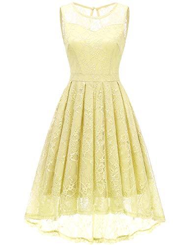 Gardenwed Gelb Jugendweihe Kleid Elegant Brautjungfernkleid Partykleid Konfirmationskleider Cocktailkleider für Damen Yellow 2XL