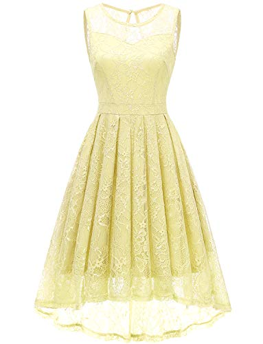 Gardenwed Damen Kleid Retro Ärmellos Kurz Brautjungfern Kleid Spitzenkleid Abendkleider CocktailKleid Partykleid Yellow S
