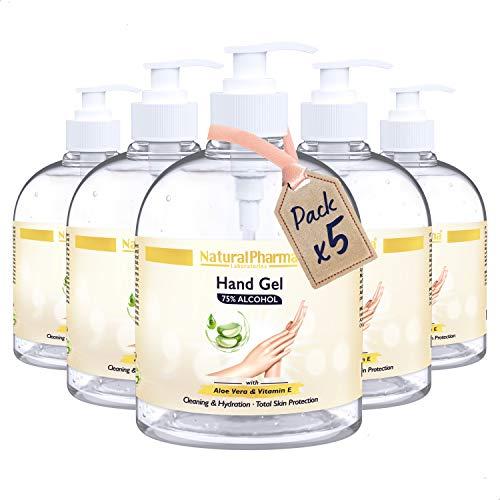 Natural Pharma Laboratories Gel Hidroalcohólico de Manos, Pack 5x500 ml. Fórmula Activa al 75%. Gel Higienizante con Aloe Vera y Vitamina E. Máxima Protección.