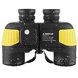 AOMEKIE Fernglas mit Nachtsicht Entfernungsmesser Kompass 7X50 Wasserdicht BAK4 FMC Ferngläser Feldstecher Gelb