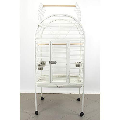 Pet's Solution Voliera Gabbia pappagalli Bianca con Ruote Dimensioni Esterne: 76 x 60 x 173 cm