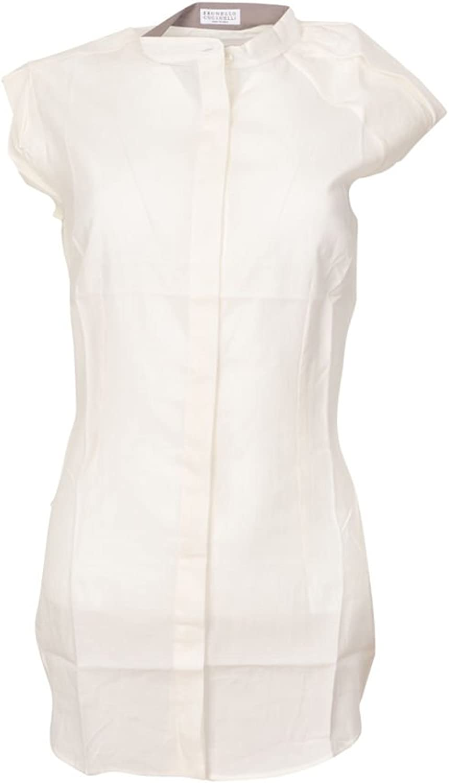 Brunello Cucinelli Blouse Women's White Slim Fit Cotton Casual M IT