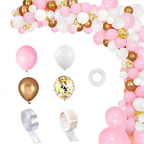 Rosa Blancos Kit De Guirnalda con Globos 118 Pcs Kit de arcos de globos Rosa blanca y dorada Confeti Lleno de globos de látex Ballons Para Decoración De Boda Cumpleaños Fiesta