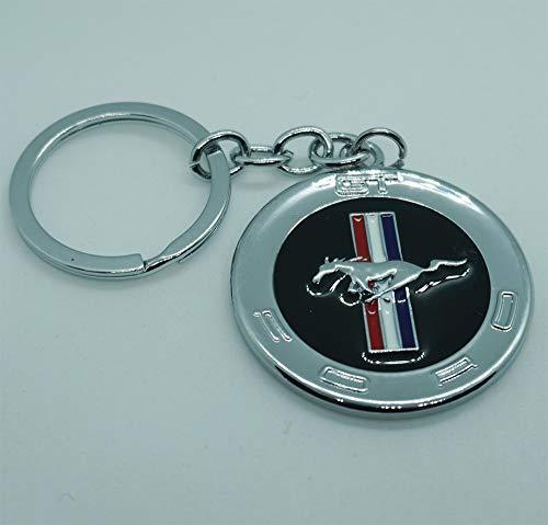 ESMPRO For Ford Mustang 3D Pony Horse Circle Metal Key Chain Car Logo Keychain Keyfob keyring