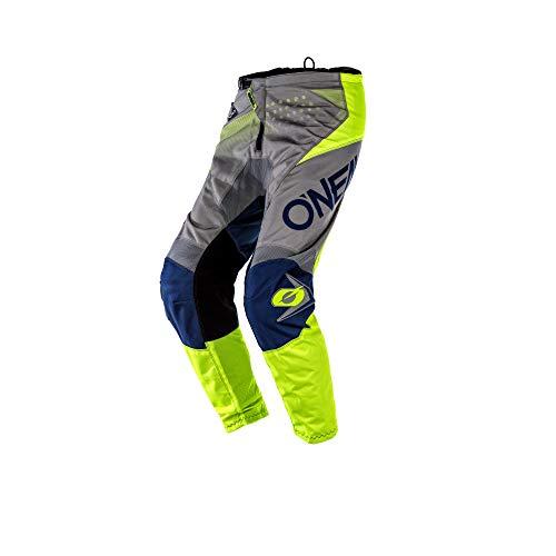 O'NEAL | Motocross-Hose | MTB Enduro MX | Bequeme lockere Passform für maximale Bewegungsfreiheit, Bündchenlose Hosenbeine | Element Pants Factor | Erwachsene | Grau Blau Neon-Gelb | Größe 36/52