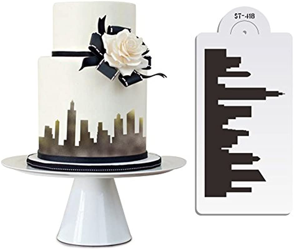 New York Skyline Cake Stencil Cake Side Stencil Fondant Cake Decorating Mold Wall Decorating Stencil Bakeware Pastry Tool ST 418