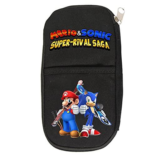 Mario Estuche de lápices de dibujos animados juego Mario circundante estuche pequeño exterior de una sola capa Estudiante Papelería Bolsa de almacenamiento multiusos