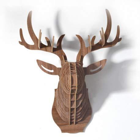 Le comptoir canadien - Tête de cerf Naturel en Bois - TCeWBS1 - Small - Naturel
