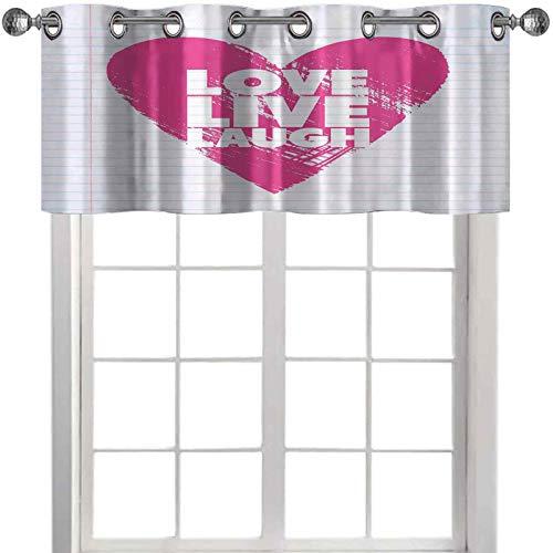 Cenefas de ventana estilo cuaderno telón de fondo con un corazón gigante y una frase motivacional 91,4 cm de ancho x 45,7 cm de largo, cenefas para sala de estar, color rosa y blanco