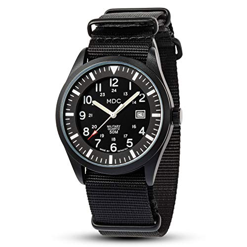 Mens Analog Military Wrist Watch Field Tactical Watches for Men Black Outdoor Work Waterproof Wristwatch 12/24 Hour with Nylon Band by MDC