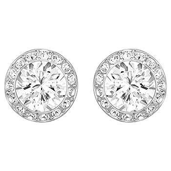 SWAROVSKI Women s Angelic Stud Pierced Earrings Rhodium Finish Clear White Crystal