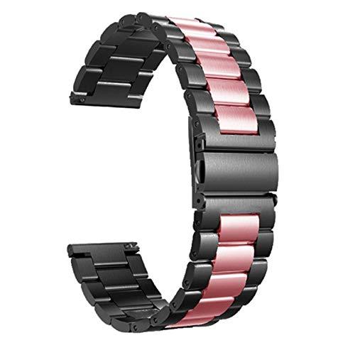 HNGM Correas para Relojes de Hombre 18mm 22mm 20 mm 24mm Reloj de Reloj de Acero Inoxidable Pulsera y Pulsera de Mujer Plateado (Band Color : Black Bar Pink, Band Width : 20mm)