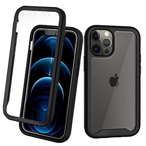 CENHUFO Cover iPhone 12 Pro Max, 360 Full Body con Protezione dello Schermo, Antiurto Rugged Custodia iPhone 12 Pro Max Case Trasparente Armor Bumper, Nero