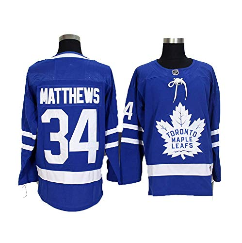 Yajun Auston Matthews#34 Toronto Maple Leafs Eishockey Trikots Jersey NHL Herren Sweatshirts Atmungsaktiv T-Shirt Bekleidung,Blue,L