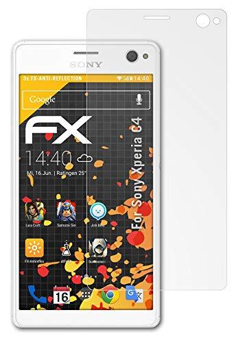 atFolix Panzerfolie kompatibel mit Sony Xperia C4 Schutzfolie, entspiegelnde & stoßdämpfende FX Folie (3X)