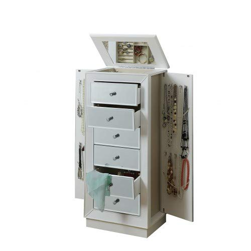 MKING Talor Jewelry Armoire in White, with Mirror, Vintage Wood