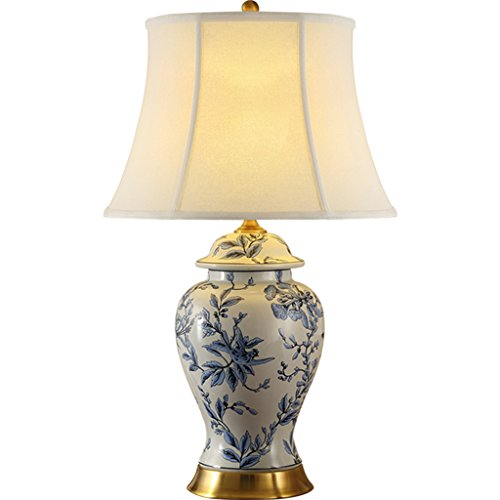 HNWNJ Lámparas de Escritorio Retro Azul y Blanco de Porcelana cerámica del Dormitorio de la lámpara de Tabla China lámpara de cabecera Chino de Estar Sala de Estudio lámpara de Mesa d