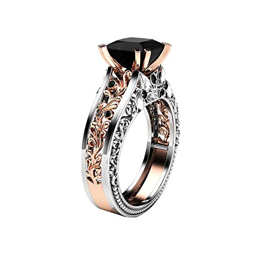 Taswuw Press Cut Gold Black Diamond Engagement Rings for Women Classic Side one Prong Set Diamond Floral Wedding Ring