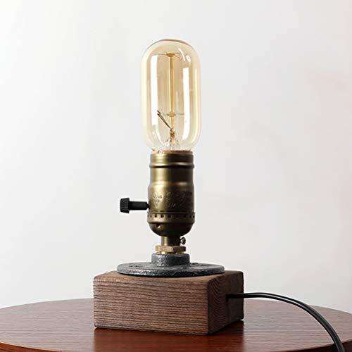 Uonlytech American Retro Industrial Style - Lámpara de mesa sin bombilla para dormitorio en la cama