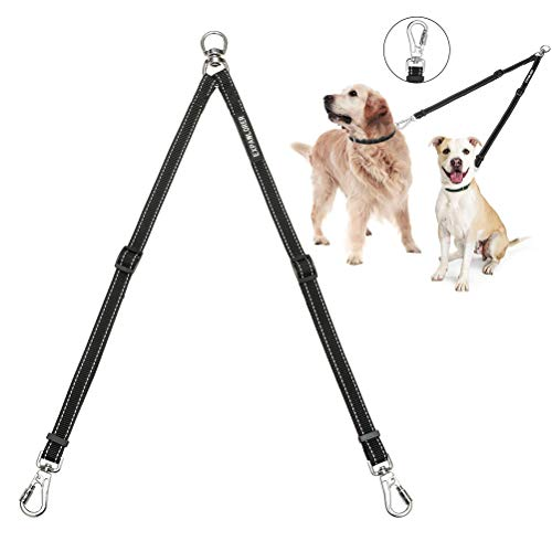 Double Dog Leash No Tangle - Adjustable Dog Leash Coupler with Heavy Duty Clips for Two Dogs Walking