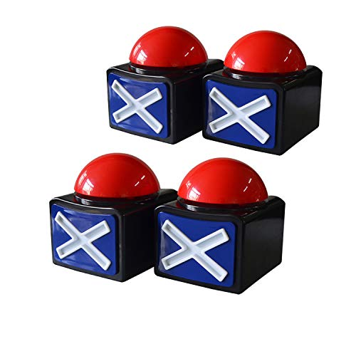 Pack of 4 Game Answer Buzzer Alarm Button Box with Sound Light Party Contest Prop Toy for Trivia Quiz Game