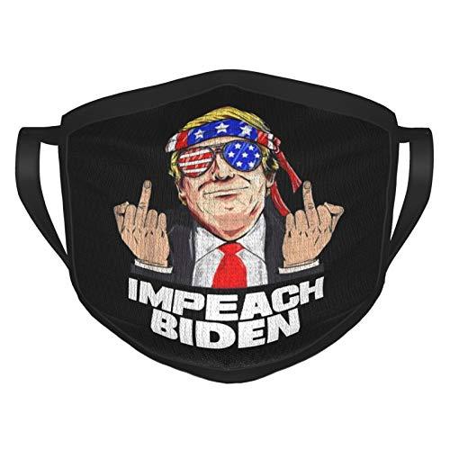Trump Middle Finger Impeach Biden Anti Biden Adult Reusable Face Mask Black Border Mouth Mask Bandana Face Mask