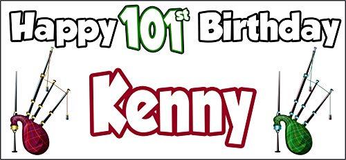 Póster personalizable de Bagpipes Escocia Feliz cumpleaños 101 – Póster – Decoración...