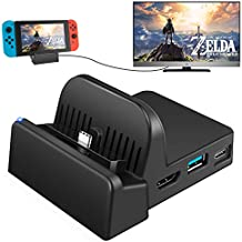 UKor TV Dock Docking Station for Nintendo Switch, Portable Charging Stand,Compact Switch to HDMI Adapter,with Extra USB 3.0 Port, Replacement Charging Dock for Nintendo Switch
