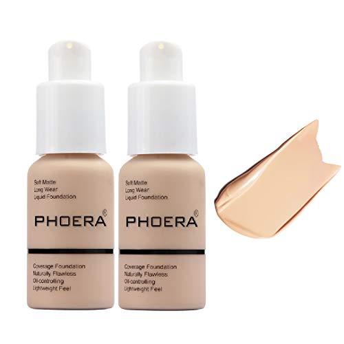 2 Pack Phoera Foundation,Durable waterproof matte foundation, matte oil control concealer foundation cream, 102 Nude-30ml