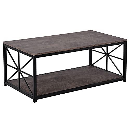 sun yoba Estilo retro de madera con marco de metal negro oficina de mejora casera pequeña mesa de centro moderna