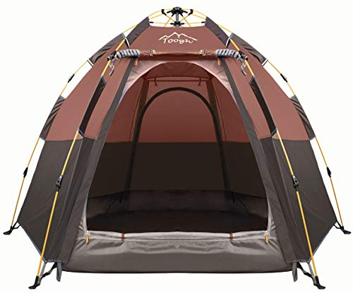 Toogh-3-4-Person-Camping-Tent-60-Seconds-Set-Up-Tent-Waterproof-Pop-Up-Hexagon-Outdoor-Sports-Tent-Camping-Sun-Shelters-Instant-Cabin-Tent-Advanced-Venting-Design-Provide-Top-Rainfly2021-Update