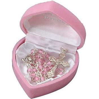 /Id/éal Premier Communion ou Confirmation Cadeau Amelia Mae Belle Fille Rose Coeur Perles Rosaire Chapelet en bo/îte Cadeau/