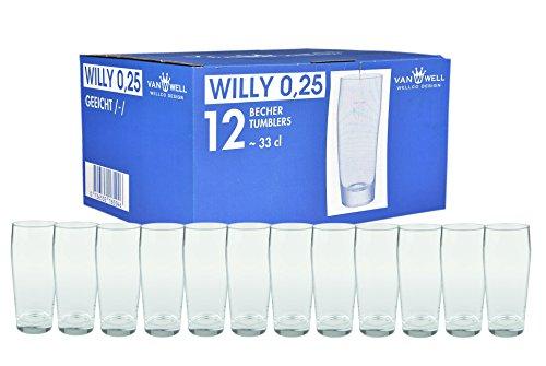 Van Well 12er Set Bierglas Willibecher 0,25l geeicht
