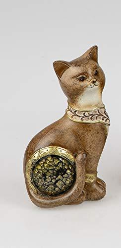 Formano Deko Katze aus Kunststein mit Mosaik-Elementen, 16 cm, Antik-Mosaik
