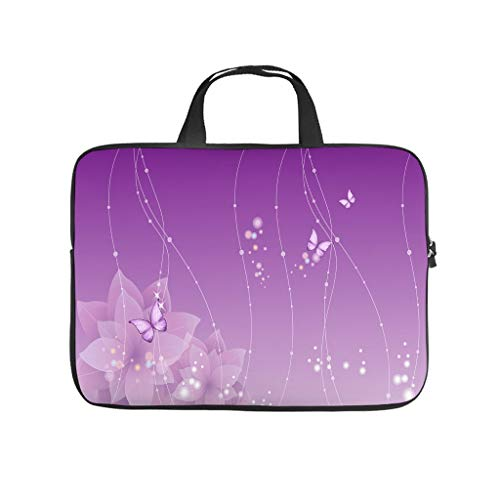 Purple Magic Butterfly Laptop Bag Waterproof Protective Case for Laptops Design Notebook Bag for University Work Business