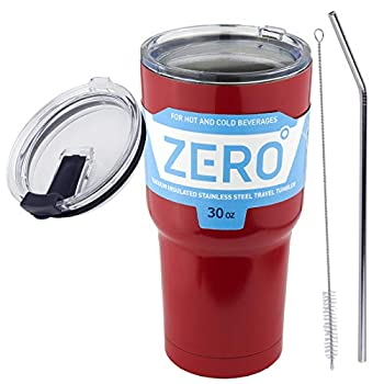 30 oz Stainless Steel Tumbler with Lid Double Wall Vacuum Insulated Travel Mug for Hot and Cold Drink by Zero Degree  30oz Bundle Red