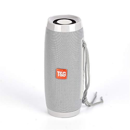 HX0945 LED stereo subwoofer zuil, draadloos, bluetooth, draagbaar, soda soundboom box, luidspreker USB waterdicht, grijs.