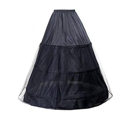 TUKA Enagua 3 Aros, Largo Miriñaque, Crinolina Boda, Aros Ajustable, tamaño M, Conveniente para el EU tamaño 34 - tamaño 40, Negro, TKB0005 Black