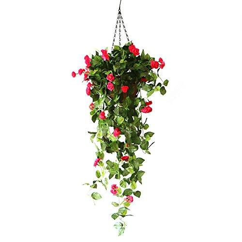 Maceta hängend macetones macramé con Artificial Rose Flores Planta macetones Alto Simulación Diseño para jardín Oficina Casa Ventana Hofmeister boda libre interior decoración