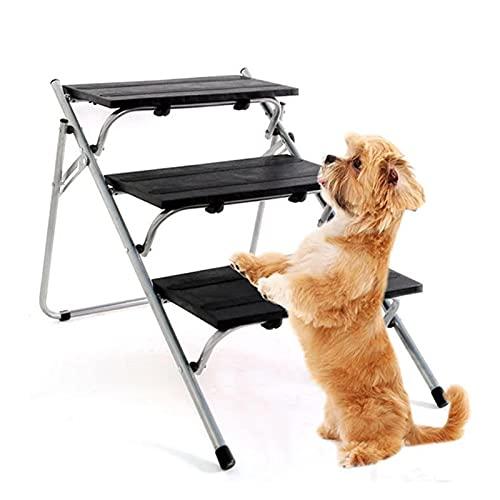 Vecksoy Escaleras plegables para perros de 3 capas, escaleras, escaleras, plegable, de alta calidad, ligera, portátil, ideal para coches, camiones, sofá y cama alta