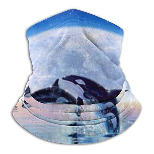 IZOU Pod Of Orcas Neck Gaiter Face Mask,Multifunction for Man Women seasons Magic Scarf Bandana Balaclava